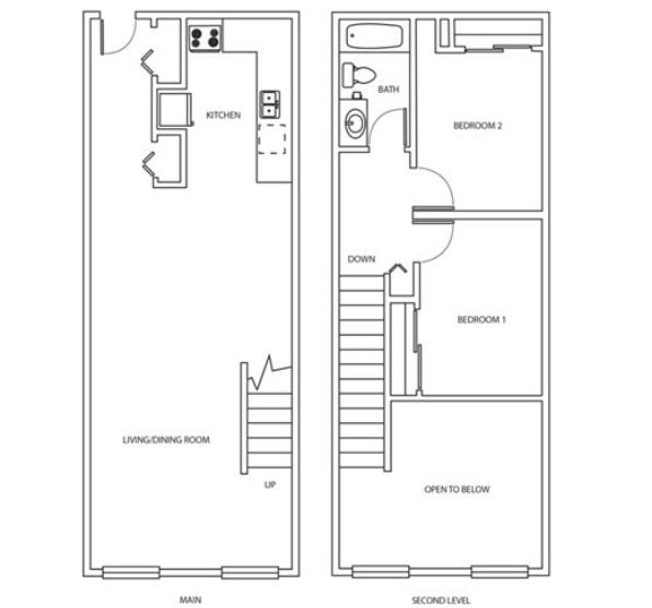 Two Bedroom Loft Rendering