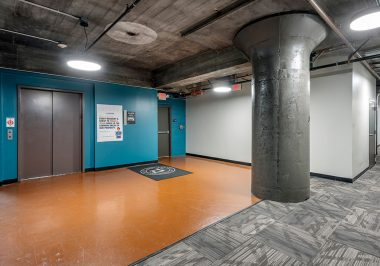 Elevator and hallway area at City Lofts on Laclede
