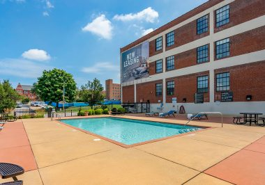 Pool area at City Lofts on Laclede
